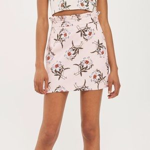 Topshop Daisy Print Mini Skirt